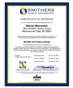 Marian Milwaukee ISO 9001:2015 Certificate