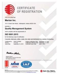 Marian ISO 9001:2015