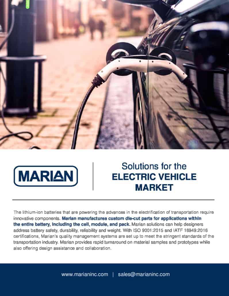 Marian Brochure: EV Market Custom Die-Cut Solutions
