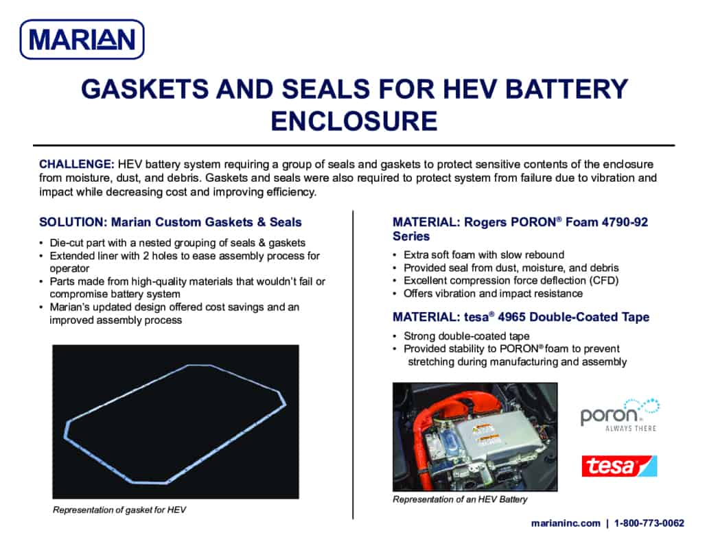 Application Story: Gaskets and Seals for HEV Battery Enclosure